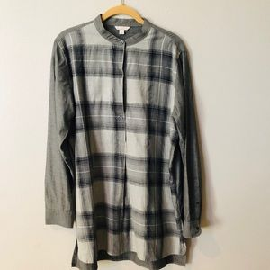 GAP long Sleeve Henley Tunic Grey Plaid Size M